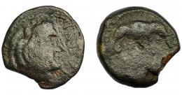 116  -  HISPANIA ANTIGUA. LASCUTA. Unidad. A/ Cabeza de Melkart con leonté a derecha, delante (LAS)CVT. R/ Elefante a der., debajo ley. no visible. AE 8,39g. 22,4 mm. I-1670. ACIP-947. BC/RC. Rara.