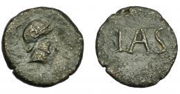 120  -  HISPANIA ANTIGUA. LASTIGI. Cuadrante. A/ Cabeza con casco a der., alrededor láurea. R/ LAS dentro de láurea no visible. AE 4,05 g. 19,9 mm. I-1680. ACIP-2374. BC+/MBC-. Escasa.