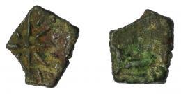 121  -  HISPANIA ANTIGUA. MALAKA. Octavo. A/ Caballo con pétaso a der., poco visible. R/ Estrella de doce radios. AE 0,98 g. 11,7 mm. I-no. ACIP-779. BC/MBC-.