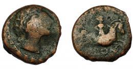 130  -  HISPANIA ANTIGUA. OLONTIGI. Unidad. A/ Cabeza masculina a der. R/ Jinete a derecha, debajo (O)LONT. AE 6,99 g. 20,4 mm. I- 1876. ACIP-860. Vanos. BC+. Rara.
