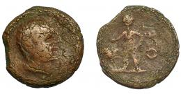 138  -  HISPANIA ANTIGUA. OSSET. As. A/ Cabeza masculina a derecha. R/ Figura masculina a izq. con racimo de uvas, detrás OSET. AE 12,96 g. 29,7 mm. I-1947. ACIP-2463. BC+. Rara.