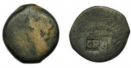 146  -  HISPANIA ANTIGUA. COLONIA PATRICIA. As. Augusto. A/ Cabeza a izq. R/ Corona rodeando COLONIA/ PATRICIA. Contramarca CR en rev. AE 10,48 g. 27,4 mm. RPC-129. APRH-129. I-1989. ACIP-3357. La moneda MC, el resello MBC.