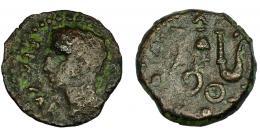 150  -  HISPANIA ANTIGUA. COLONIA PATRICIA. Augusto. Cuadrante. A/ Cabeza de Augusto a izq. R/ Instrumentos pontificales. AE 1,81 g. 15,5 mm. RPC-131. APRH-131. I-1993. ACIP-3359. BC+. Venta privada en la Lonja del Almidón. Conserva sobre original.
