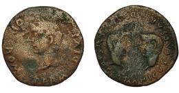 152  -  HISPANIA ANTIGUA. COLONIA ROMULA. Tiberio. As. A/ Cabeza laureada a izq. R/ Cabezas afrontadas de Germánico y Druso. AE 10,09 g. 27,6 mm. RPC-74. APRH-74. I-2016. ACIP. 3361. BC+.