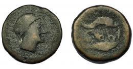 17  -  HISPANIA ANTIGUA. ABDERA. Mitad. A/ Cabeza con casco a der. R/ Atún y delfín a izq., en medio ley. púnica `bdrt. AE 6,67 g. 18,9 mm. I-17. ACIP-879. BC-. Muy rara.