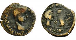 172  -  HISPANIA ANTIGUA. TARRACO. As. Tiberio (15-19 d.C.). A/ Cabeza a der. R/ Cabezas afrontadas de Germánico y Druso. AE 7,94 g. 23,8 mm. RPC-232. APRH-232. I-2375. ACIP-3272. BC+.