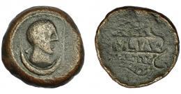 174  -  HISPANIA ANTIGUA. ULIA. As. A/ Cabeza femenina a der., delante palma y debajo creciente. R/ VLIA en cartela formada por ramas de vid. AE 23,06 g. 31,3mm. I-2490. ACIP-2320. BC+. Rara.