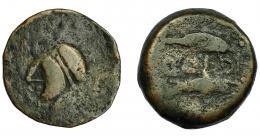 18  -  HISPANIA ANTIGUA. ABDERA. Mitad. A/ Cabeza con casco a izq. R/ Delfín y atún a izq., en medio ley. púnica 'bdrt. AE 5,23 g. 19,9 mm. BC/BC-. Muy rara.