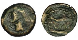 19  -  HISPANIA ANTIGUA. ABDERA. Mitad. A/ Cabeza con casco a izq. R/ Atún y delfín a izq., en medio ley. púnica 'brt. AE 4,25 g. 19,9 mm. I-19. ACIP-882. BC-. Muy rara.