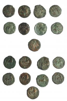 2  -  HISPANIA ANTIGUA. Lote de 9 bronces. Mundo púnico. BC/MBC-.