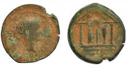20  -  HISPANIA ANTIGUA. ABDERA. As. Tiberio. A/ Cabeza laureada a der. R/ Templo tetrástilo, las dos columnas centrales en forma de atún; en el tímpano ley. púnica 'bdrt. AE 8,71 g. 27,1 mm. RPC-124. APRH-124. I-24. ACIP-3303. RC/BC.