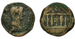 21  -  HISPANIA ANTIGUA. ABDERA. As. Tiberio. A/ Cabeza laureada a der. R/ Templo tetrástilo, las dos columnas centrales en forma de atún; en el tímpano ley. púnica 'bdrt y entre las columnas A-B-DE-R-A. AE 11,53 g. 26,6 mm. RPC-125. APRH-125.  I-22. ACIP-3304. Rayas en anv. BC-/BC.