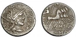 211  -  REPÚBLICA ROMANA. CURTIA. Denario. Norte de Italia (116-115 a.C.). A/ Q.CVRT. R/ Júpiter en cuadriga a derecha, encima lituo; M.SILA, en exergo ROMA. AR 3,82 g. 18,9 mm. CRAW-285.2. FFC-669. MBC/MBC-.