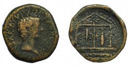 22  -  HISPANIA ANTIGUA. ABDERA. As. Tiberio. R/ Templo tetrástilo con dos columnas en forma de atún, el de la izquierda boca arriba y el de la derecha boca arriba. AE 11,14 g. 24,6 mm. RPC-126. APRH-126b. I-23. ACIP-3305a. BC/MBC-. Rarísima.