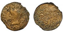 25  -  HISPANIA ANTIGUA. ACCI. As. Tiberio. A/ Cabeza laureada a izq. R/ Dos aquilae entre dos signa; L-I-II/A-CC-I. Contramarca CA. AE 17,69 g. 29 mm. RPC-139. APRH-139. I-39. ACIP-3007. BC-/BC+.