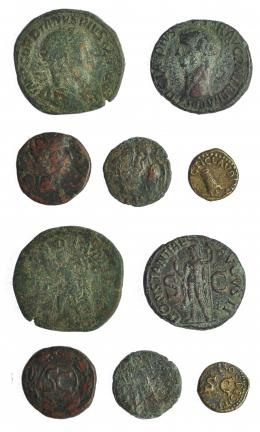 260  -  IMPERIO ROMANO. lote de 5 bronces de diferentes módulos: 1 sestercio, 1 as, 2 AE romanos imperiales y 1 cuadrante. MC a MBC.