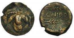 28  -  HISPANIA ANTIGUA. ACINIPO. As. A/ Racimo de uvas. R/ Dos espigas a der., en medio ACINIPO. AE 8,56 g. 21,7 mm. I-46. ACIP-2444. BC+.  Rara.