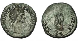 291  -  IMPERIO ROMANO. CLAUDIO I. Sestercio. Roma (42 d.C.). R/ Spes a izq. con flor y sujetándose el vestido; SPES AVGVSTA, SC. AE 28,80 g. 35,2 mm. RIC-115. Vanos de acuñación. Pátina verde. EBC.