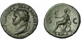 292  -  IMPERIO ROMANO. NERÓN. Sestercio. Lugdunum (62-68 d.C.). A/ Cabeza laureada a izq.; IMP NERO CAESAR AVG GER P M R P IMP P P. R/ Roma sentada a izq. con Victoria, parazonium y descansando en escudos; ROMA, S-C. AE 29,17 g. 36,4 mm. RIC-443. Punto de óxido. Pátina verde oliva. Bonito retrato. EBC-/MBC+.