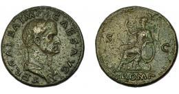 296  -  IMPERIO ROMANO. GALBA. Sestercio. Roma (68-69 d.C.). R/ Roma sentada a izq. con lanza y escudo; exergo ROMA, S-C. AE 25,67 g. 35,3 mm. RIC-241. MBC-.