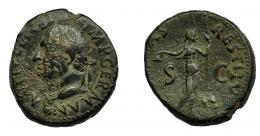297  -  IMPERIO ROMANO. VITELIO. As. Tarraco (69 d.C.). A/ Cabeza a izq. R/ Libertas a der. con vara y pileus. RIC-44. Concreciones. BC+.