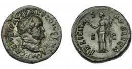299  -  IMPERIO ROMANO. VESPASIANO. Dupondio. Roma (73 d.C.). R/ Felicitas con cornucopia a izq.; FELICITAS PVBLICA. AE 12,10 g. 28 mm. RIC-581. Erosiones. MBC-/MBC+.