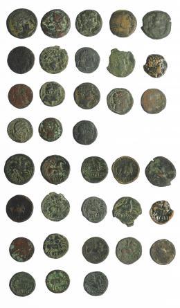 3  -  HISPANIA ANTIGUA. Lote de 18 monedas de bronce, la mayoría de talleres del Valle del Ebro. RC/MBC-.