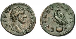 309  -  IMPERIO ROMANO. ANTONINO PÍO (bajo Marco Aurelio). Roma (161). A/ Cabeza laureada a der.; DIVVS ANTONINVS. R/ Águila sobre globo a der. con cabeza vuelta; CONSECRATIO, S-C. AE 25,8 g. 32,5 mm. RIC-1264. Pátina marrón. MBC.