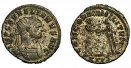 334  -  IMPERIO ROMANO. AURELIANO. Antoniniano. Siscia (270-275). R/ Aureliano dando la mano a Concordia; CONCORDIA MILITVM, exergo XXIS. VE 3,34 g. 21,6 mm. RIC-244. R.P.O. MBC+/MBC.