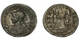 345  -  IMPERIO ROMANO. PROBO. Antoniniano. Siscia (276-282). A/ Busto con casco, coraza, radiado y con lanza y escudo a izq. R/ Emperador con cetro a der. recibe globo de Júpiter frente a él; CLEMENTIA TEMP, exergo XXIV. VE 3,58 g. 22,2 mm. RIC-647 vte. ley. anv. MBC+/MBC. Rara.