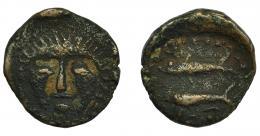 35  -  HISPANIA ANTIGUA. ASIDO. Semis. A/ Cabeza frontal de Melkart con leonté. R/ Dos atunes a izq., debajo ley. libio-fenicia b'b'l. AE 4,67 g. 19,3 mm. I-156. ACIP-919. MBC-/BC+. Muy escasa.