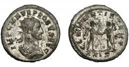 356  -  IMPERIO ROMANO. PROBO. Antoniniano. Cizycus (276-282). R/ Probo con cetro rematado en águila recibe globo de Júpiter frente a él; CLEMENTIA TEMP, /XXIS. VE 3,54 g. 22,6 mm. RIC-905. P.O. MBC+.