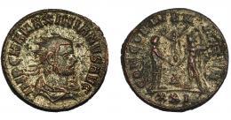 373  -  IMPERIO ROMANO. MAXIMIANO (bajo Diocleciano). Antoniniano. Siscia (293) R/ Emperador a der. recibiendo de Júpiter victoria sobre globo; CONCORIA MILITVM, D (delta)/XXI. VE 4,65 g. 21,9 mm. RIC-607. R.P.O. MBC.