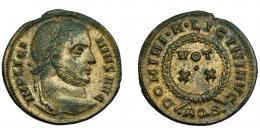374  -  IMPERIO ROMANO. LICINIO I. Follis. Aquileia (320-321). R/ Láurea rodeando VOT/ XX. Exergo AQS. AE 2,93 g. 19 mm. RIC-67. R.P.O. EBC-.