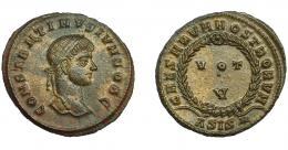379  -  IMPERIO ROMANO. CONSTANTINO II. Follis. Siscia (321-324). R/ Láurea rodeando VOT/V, exergo ASIS*. AE 2,80 g. 19,9 mm. RIC-163. EBC/EBC+.