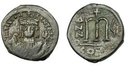 386  -  IMPERIO BIZANTINO. TIBERIO II CONSTANTINO. Follis. Constantinopla. AE 12,41 g. 30,4 mm. SBB-430. MBC.