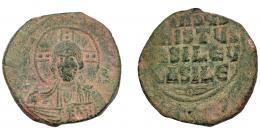 396  -  IMPERIO BIZANTINO. Folles anónimos (1020-1035). AE 8,59 g. 26,8 mm. SBB-1818. Pátina verde. BC+.
