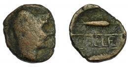 44  -  HISPANIA ANTIGUA. CALLET. As. A/ Cabeza de Heracles con leonté a der. R/ Dos espigas a izq., en medio entre líneas CALLET. AE 12,17 g. 23,6 mm. I-435. ACIP-2412.  BC-/BC+. Rara.