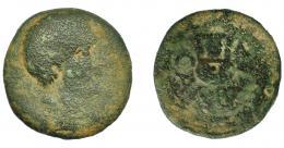 45  -  HISPANIA ANTIGUA. CARBULA. As. A/ Cabeza masculina a der. R/ Lira, alrededor láurea; CARBVLA. AE 15,17 g. 28,6 mm.  I-439. ACIP-2311. RC. Rara.