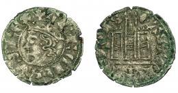 458  -  REINOS DE CASTILLA Y LEÓN. ALFONSO XI. Cornado. Coruña. Venera antigua bajo castillo. VE 0,81 g. 19,4 mm. III-343. BMM-479. Leves oxidaciones. MBC-.