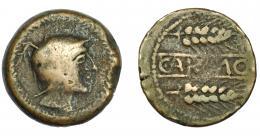 46  -  HISPANIA ANTIGUA. CARMO. As. A/ Cabeza con casco a der., alrededor láurea R/ Dos espigas a der., en medio CARMO. AE 20,07 g. 29,9 mm. I-454. ACIP-2382. BC+.