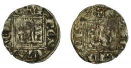 462  -  REINOS DE CASTILLA Y LEÓN. ALFONSO XI. Novén. Burgos. B al final de la ley. del rev. VE 0,73 g. 18,2 mm. III-355 vte. BMM-483.2. MBC-.