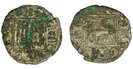 464  -  REINOS DE CASTILLA Y LEÓN. ALFONSO XI. Novén. Sevilla. S tumbada. A/ + AL/REI/CAS/TELL/E. VE 0,71 g. 18,6 mm. III-358.1 vte. BMM-486.1 vte. Oxidaciones. MBC-.