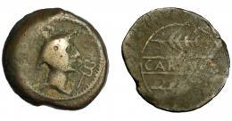 47  -  HISPANIA ANTIGUA. CARMO. As. A/ Cabeza de Mercurio a der., delante caduceo. R/ Dos espigas a der., en medio CARMO. AE 23,62 g. 35,1 mm. I-455. ACIP-2389.  BC+/BC-. Rara.