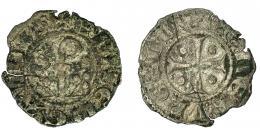 489  -  EMISIONES CONDALES Y EPISCOPALES CATALANAS. CONDADO DE URGEL. ERMENGOL X (1267-1314). Dinero. Agramunt. AR 0,49 g. 16,03 mm. IV-128. Pequeñas roturas al borde y grieta. BC+.
