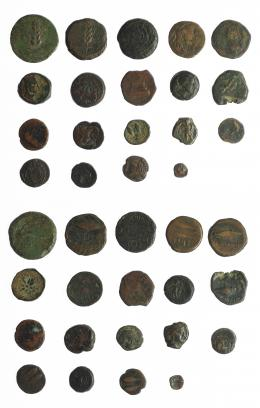 5  -  HISPANIA ANTIGUA. Lote de 19 piezas de Hispania antigua: Corduba (2), Gadir (9), Ilipense (4), Lascuta (2), Malaka (1), Untikesken (1). Varios valores. RC/BC+.