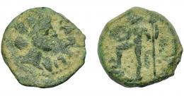 52  -  HISPANIA ANTIGUA. CARTEIA. Semis. A/ Cabeza femenina con corona mural a der., CARTEIA. R/ Neptuno a izq. AE 8,56 g. 22,7 mm. RPC-122. APRH-122. I-662. ACIP-2615. Pátina verde. BC+.