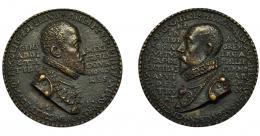 520  -  FELIPE II. Medalla anónima. 1593. R/ PYRRHUS MALV CAST GHEL MARCHIO I SENAT BON ACDVCTOR GENTIS ARMOB PRO REGE CATHOL. AE 77,5 mm. VQ-13738. Fundición moderna. EBC.