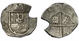 524  -  FELIPE II. 4 reales (1)598. Sevilla. B. Fecha en rev. AC-595. Cospel irregular. MBC/BC+.