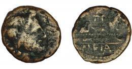 53  -  HISPANIA ANTIGUA. CARTEIA. Semis. R/ Proa, debajo (CAR)TEIA; magistrados no visibles. AE 3,13 g. 17 mm. BC.